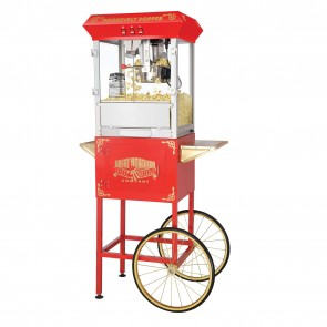 "Red ""Roosevelt"" 8 Ounce Antique Popcorn Machine and Cart"