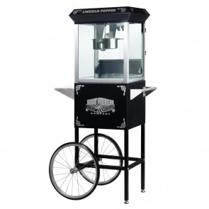 "Black ""Lincoln"" 8 Ounce Antique Popcorn Machine and Cart"