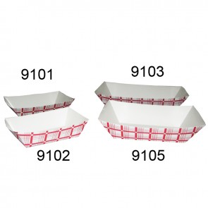Gold Medal Small Red and White Food Tray, 1000/cs