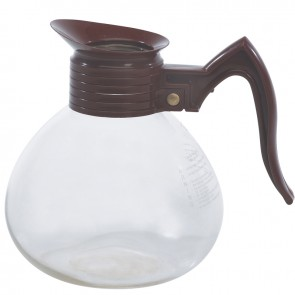 Gold Medal Brown Handle Glass Coffee Decanters